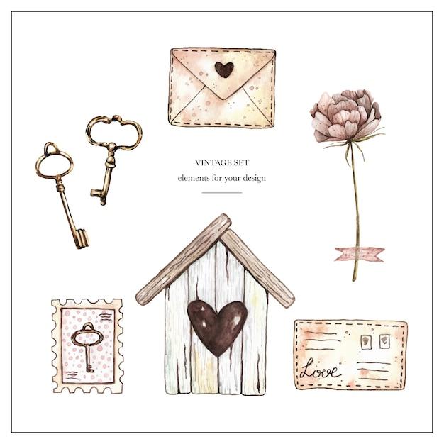 Aquarel vintage set met birdhouse, stempels, brieven, pioen en sleutels. Premium Vector