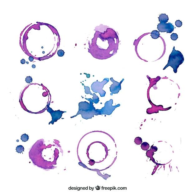 Aquarel vlek collectie Gratis Vector