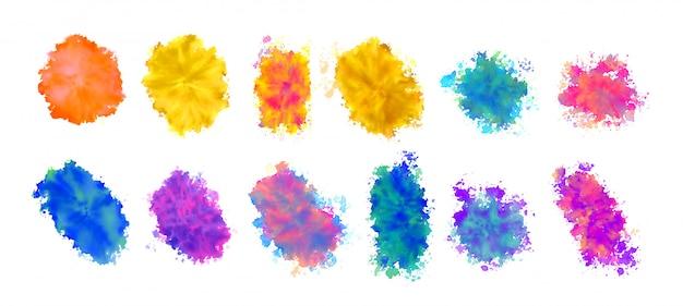 Aquarel vlek texturen in vele kleuren Gratis Vector