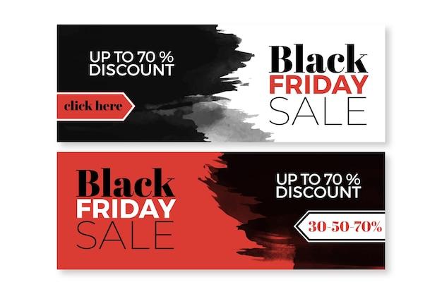 Aquarel vlek zwarte vrijdag banners sjabloon Gratis Vector