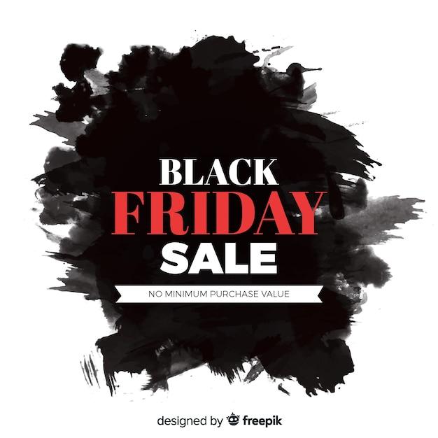 Aquarel vlek zwarte vrijdag verkoop lint Gratis Vector