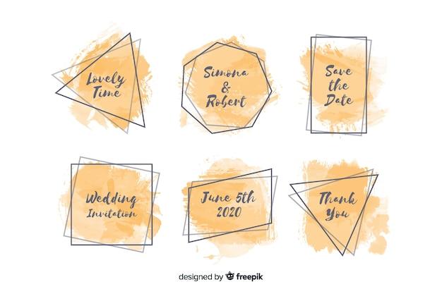 Aquarel vlekken bruiloft badge collectie Gratis Vector