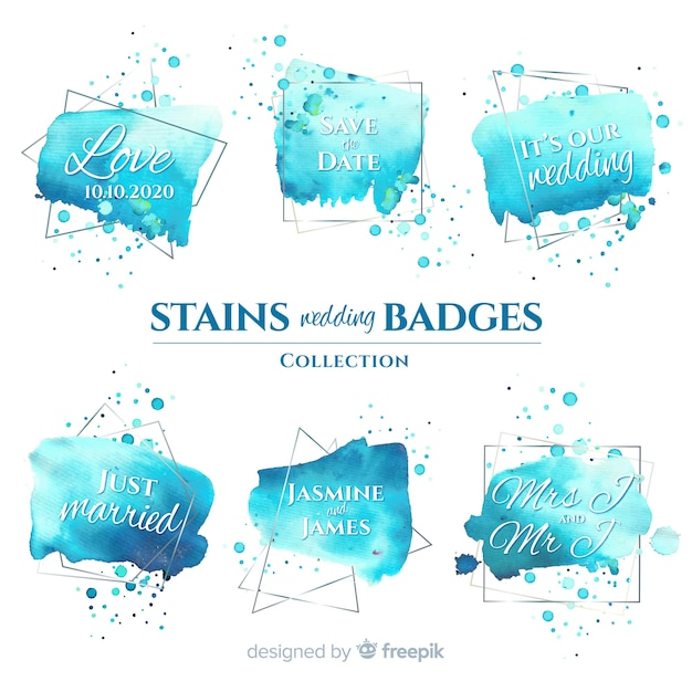 Aquarel vlekken bruiloft badges collectie Gratis Vector