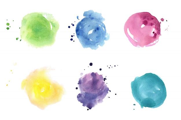 Aquarel vlekken set. pastelkleuren Premium Vector