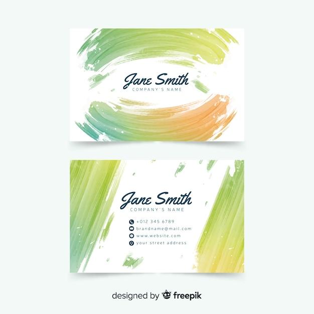 Aquarel vlekken visitekaartjesjabloon Gratis Vector