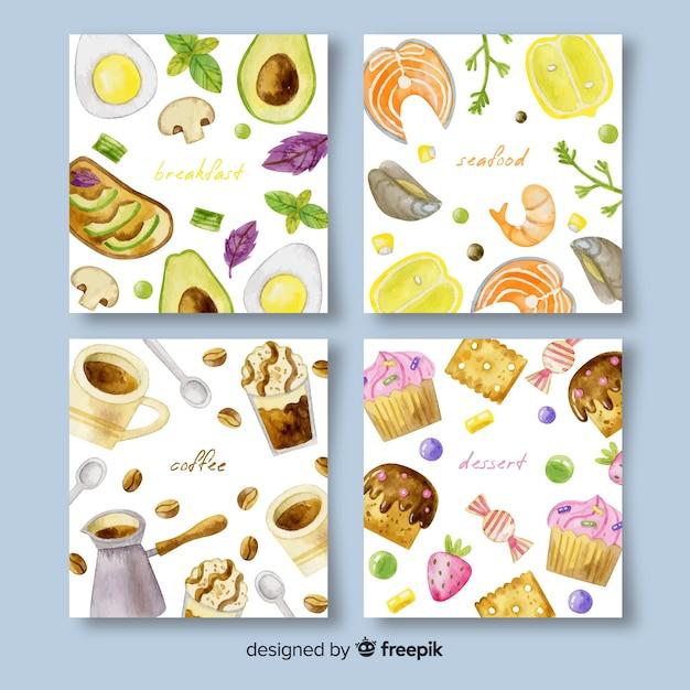 Aquarel voedsel kaart pack Gratis Vector