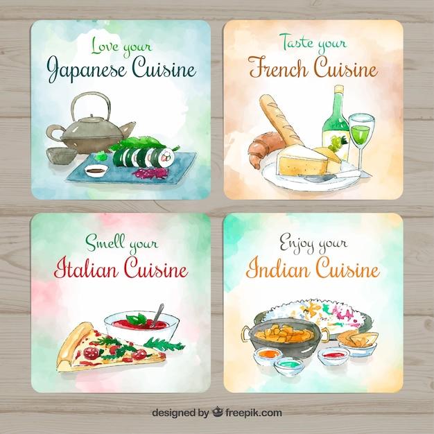 Aquarel voedsel kaartcollectie Gratis Vector