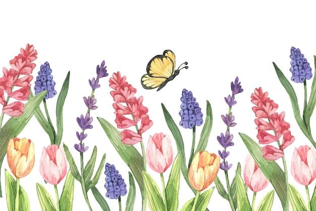 Aquarel voorjaar achtergrond met bloemen Gratis Vector