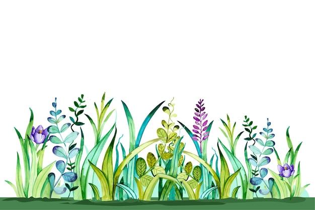 Aquarel voorjaar achtergrond Premium Vector