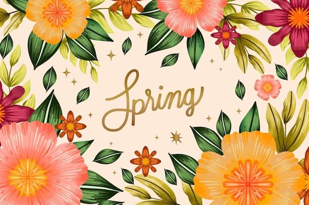 Aquarel voorjaar achtergrond Gratis Vector
