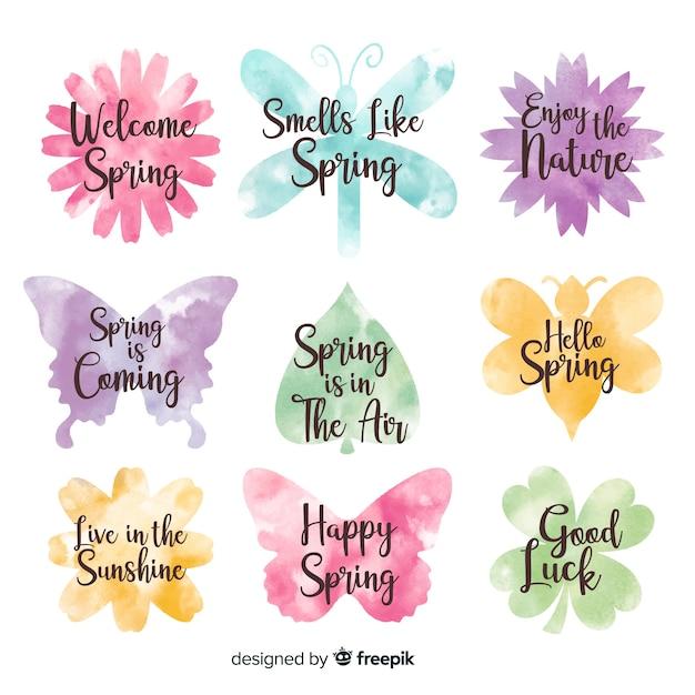 Aquarel voorjaar badge collectie Gratis Vector