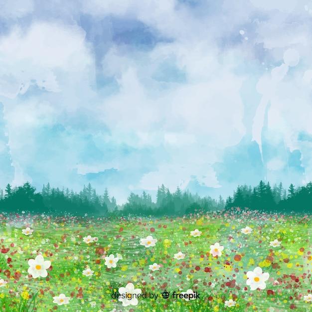 Aquarel voorjaar landschap Gratis Vector
