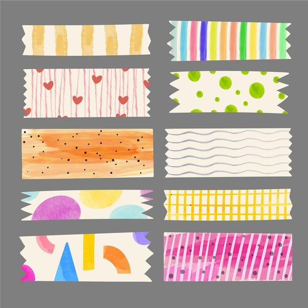 Aquarel washi tape-collectie Gratis Vector