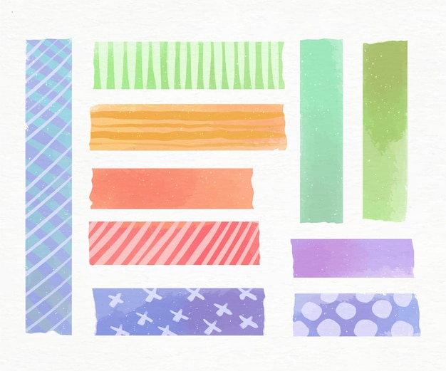 Aquarel washi tape-collectie Premium Vector