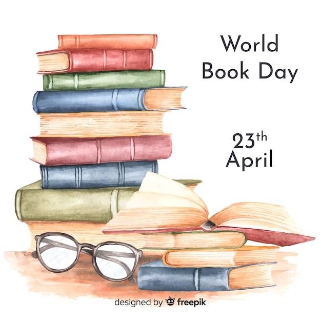Aquarel wereld boek dag achtergrond Gratis Vector