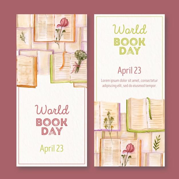 Aquarel wereld boek dag banner Gratis Vector