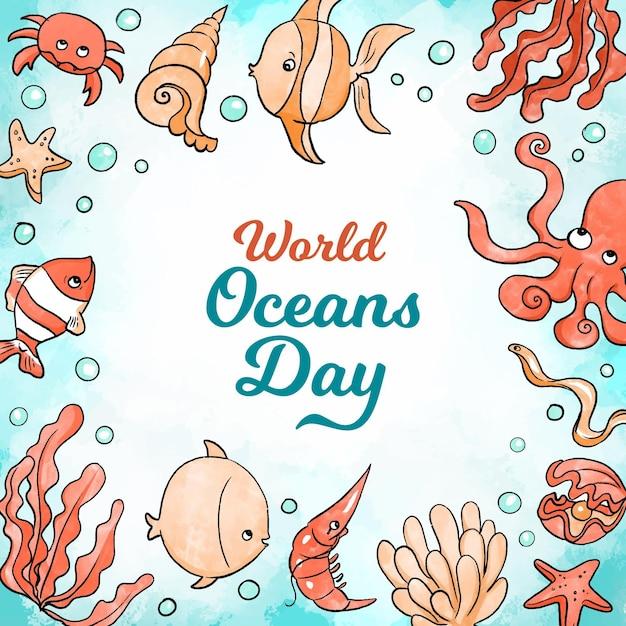 Aquarel wereld oceanen dag Gratis Vector