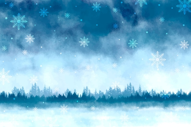 Aquarel winter landschap achtergrond Gratis Vector