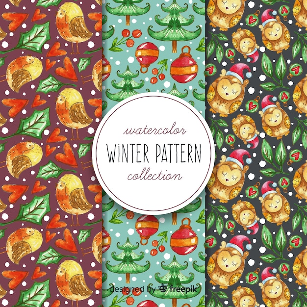 Aquarel winter patroon collectie Gratis Vector