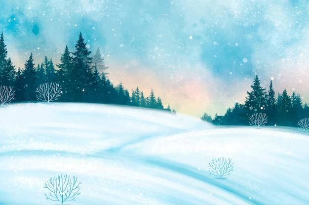 Aquarel winterlandschap achtergrond Gratis Vector