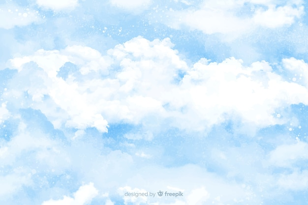 Aquarel wolken achtergrond Gratis Vector