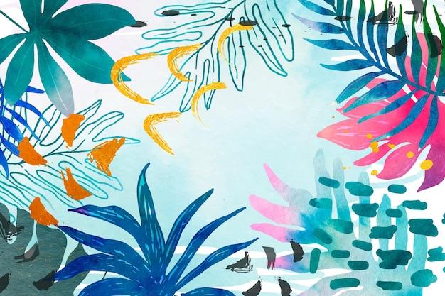 Aquarel zomer achtergrond Gratis Vector