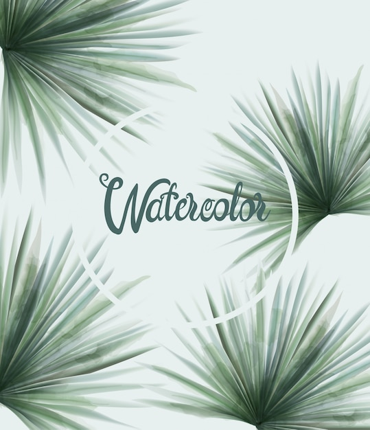 Aquarel zomer groene palmbladeren Premium Vector