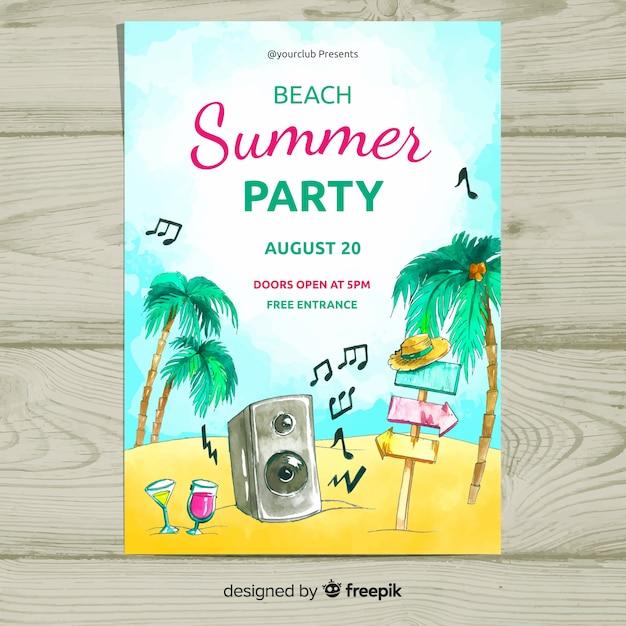 Aquarel zomer partij poster sjabloon Gratis Vector