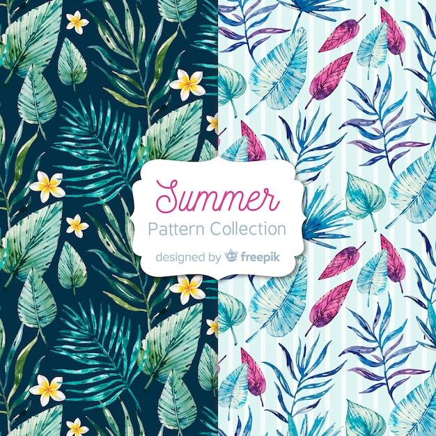 Aquarel zomer patroon collectie Gratis Vector