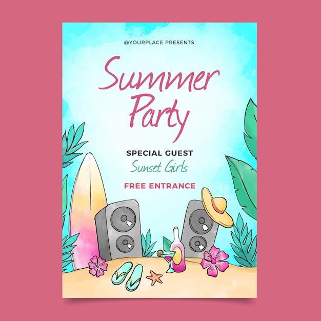 Aquarel zomerfeest poster Gratis Vector