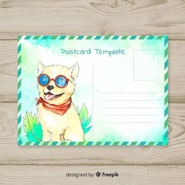 Aquarel zomervakantie briefkaart Gratis Vector