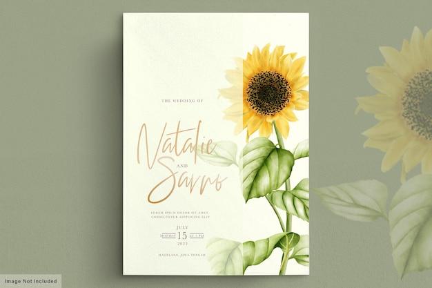 Aquarel zon bloem bruiloft uitnodigingskaart Gratis Vector