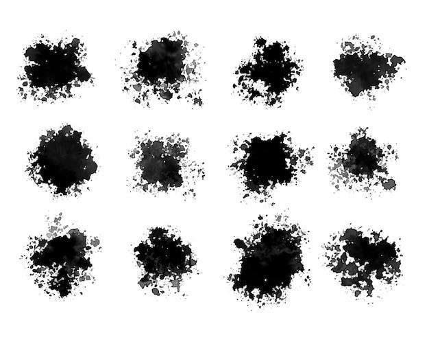 Aquarel zwart in grunge set van twaalf design Gratis Vector