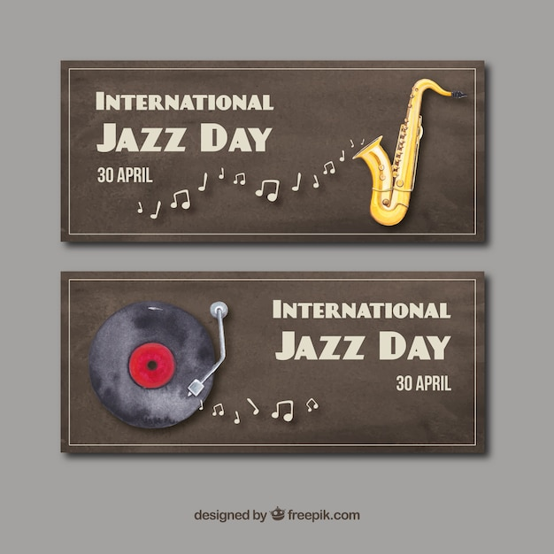 Aquarellen van de internationale jazz-dag Gratis Vector