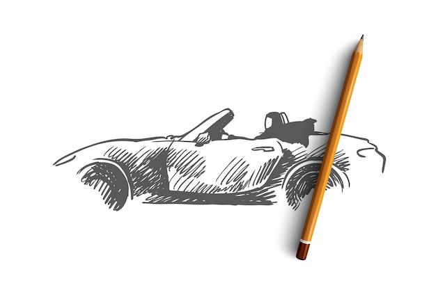 Arabier, vrouw, rijden, auto, moslimconcept. hand getekend arabische vrouw in hijab rijden auto concept schets. Premium Vector