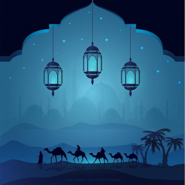 Arabisch land door 's nachts op kamelen te rijden vergezeld door sprankelende sterren, moskeeën, lantaarns voor illustratieve islamitische achtergrond Premium Vector