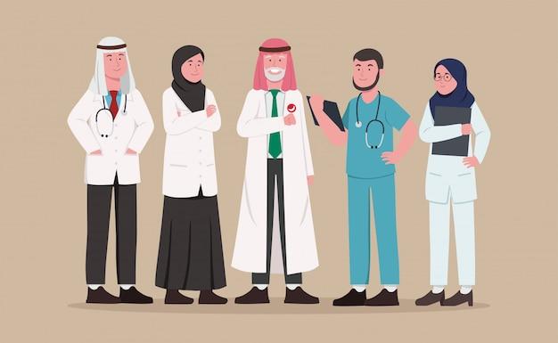 Arabisch medisch team cartoon instellen Premium Vector
