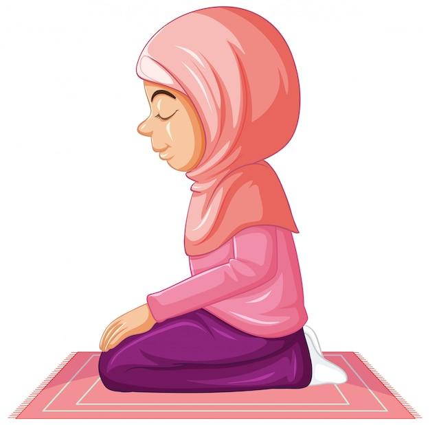 Arabisch meisje in roze traditionele kleding in het bidden van positie op een witte achtergrond Gratis Vector
