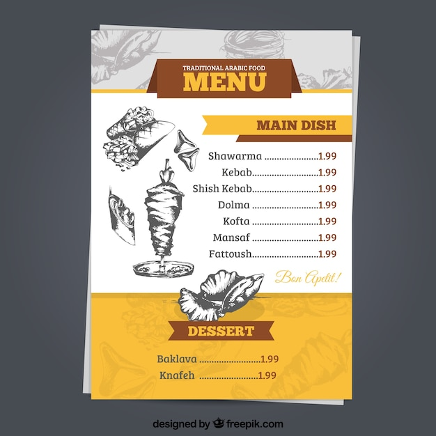 Arabisch menu sjabloon met tekeningen Gratis Vector