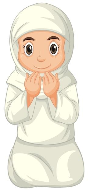 Arabisch moslimmeisje in traditionele kleding het bidden zittende positie die op witte achtergrond wordt geïsoleerd Gratis Vector