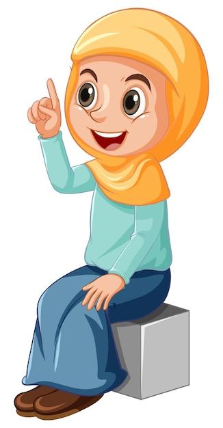 Arabisch moslimmeisje in traditionele kleding in geïsoleerde zittende positie Gratis Vector