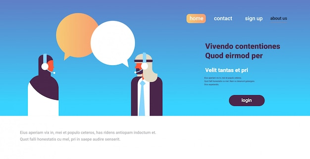 Arabisch paar chat bubbels communicatie ondersteuning spraak dialoog call center concept Premium Vector