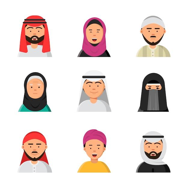Arabische avatars, islamitische moslimportretten van mannelijke en vrouwelijke hijab niqab vlakke pictogrammen voor web Premium Vector