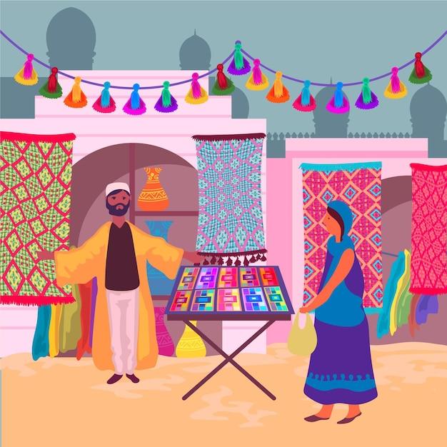 Arabische bazaar concept Gratis Vector