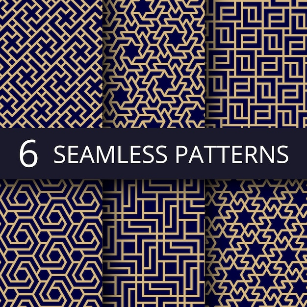 Arabische cultuur naadloze patronen, gouden aziatische decoratie herhalen achtergronden Premium Vector