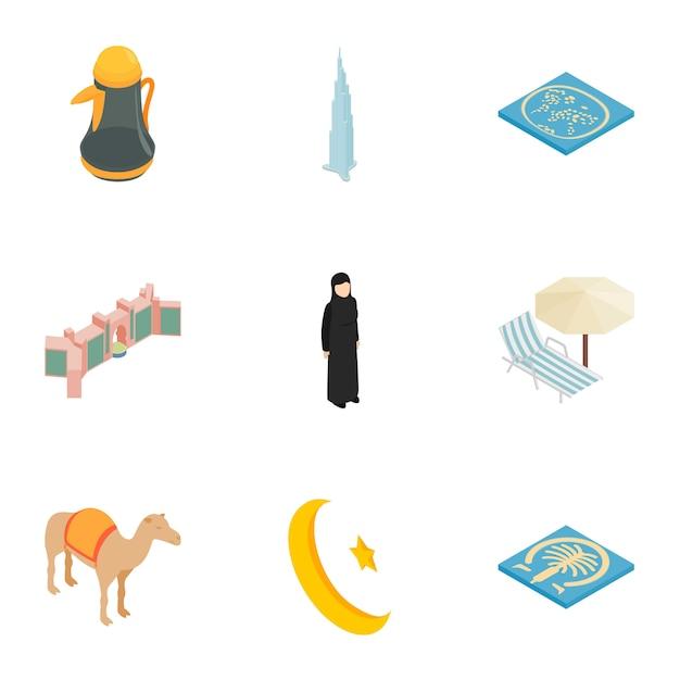 Arabische elementen iconen set, isometrische 3d-stijl Premium Vector