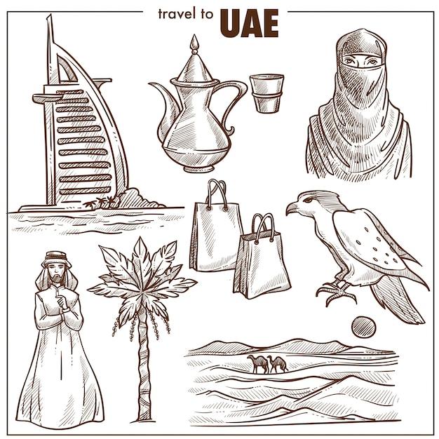 Arabische emiraten reizen schets bezienswaardigheden Premium Vector