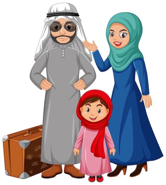 Arabische familie die arabisch kostuumkarakter draagt Gratis Vector
