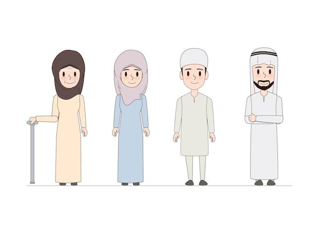 Arabische familie en moslim mensen doodle ontwerp. Premium Vector