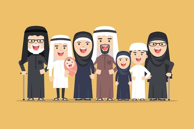 Arabische familie, moslimmensen, saoedische cartoonman en vrouw. arabische mensen vader, moeder, zoon, dochter, grootmoeder en grootvader staan samen Premium Vector